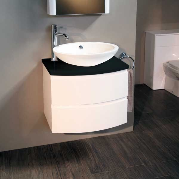 Voss 620 wall mounted black countertop vanity drawer unit for Black bathroom drawers