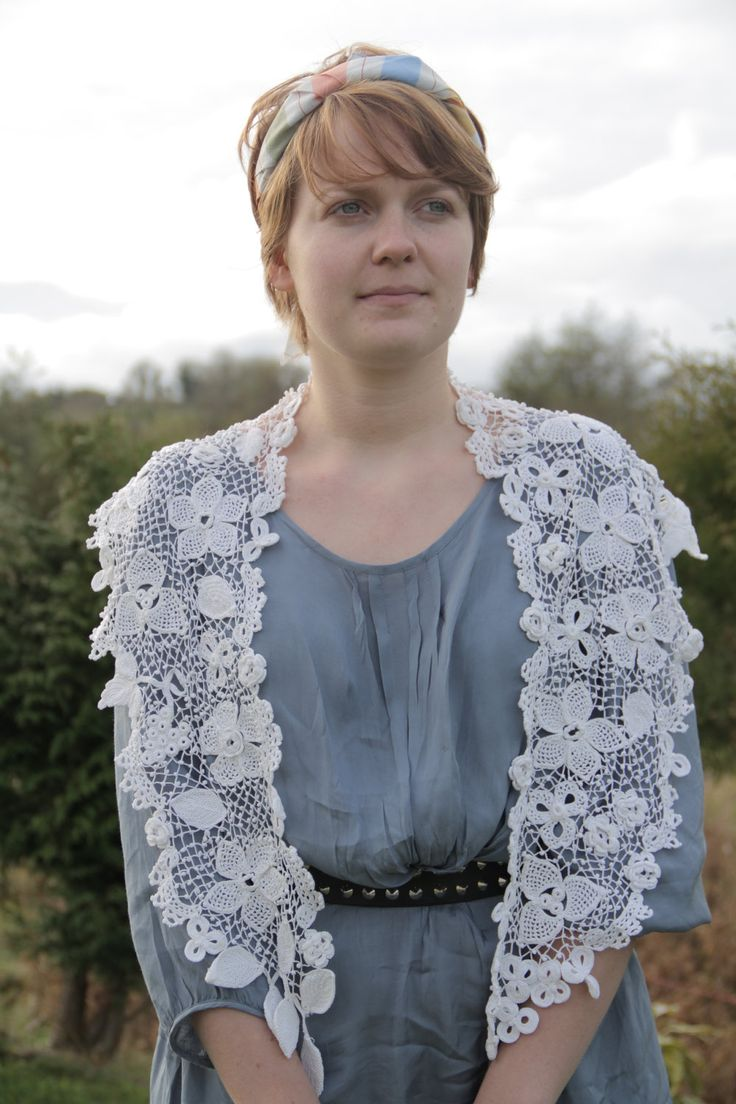 Irish Crochet ~ Clones Lace Shawlette  by Máire Treanor:  http://www.etsy.com/listing/115351032/irish-crochet-clones-lace-genuine-hand Interweave Crochet Pattern