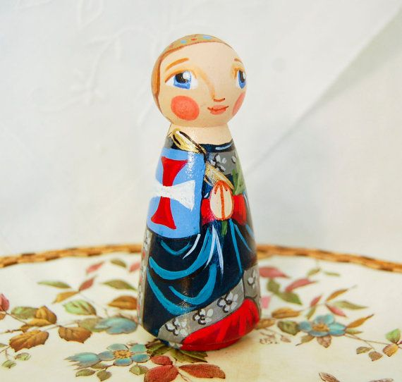 St Odilia Catholic Saint Doll Wooden Toy Made by SaintAnneStudio