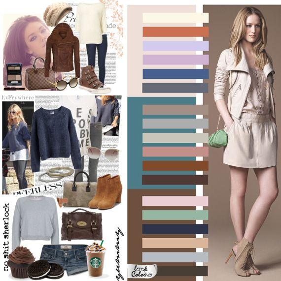 Кэжл – полу спортивный стиль или стиль большого города. Основная задача такой одежды – комфорт, как тактильный, так и зрительный. Поэтому основными оттенками будут цвета средней светлоты и насыщенности: все оттенки коричневого, приглушенные синие, фиолетовые ближе к серому, оттенки охры, рыжие, терракотовые, амарантовые, серые, приглушенные зеленые, хаки. Светлые оттенки стиля кэжл относятся к пастельной гамме, но в отличие от романтической, они стремятся к серым оттенкам.