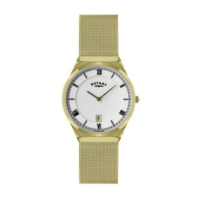 Rotary men's gold plated mesh bracelet watch - Ernest Jones