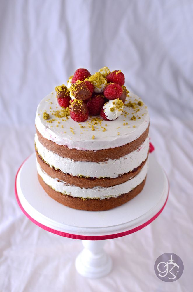 Raspberry cake with Pistachio and Rose water Swiss Meringue Buttercream
