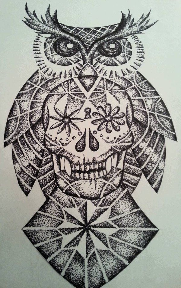 Geometric owl sugar skull by tattooeddnbhead on DeviantArt