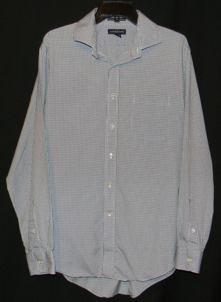 Lands 39 end men 39 s size 15 5 34 supima pinpoint oxford long for Size 15 dress shirt