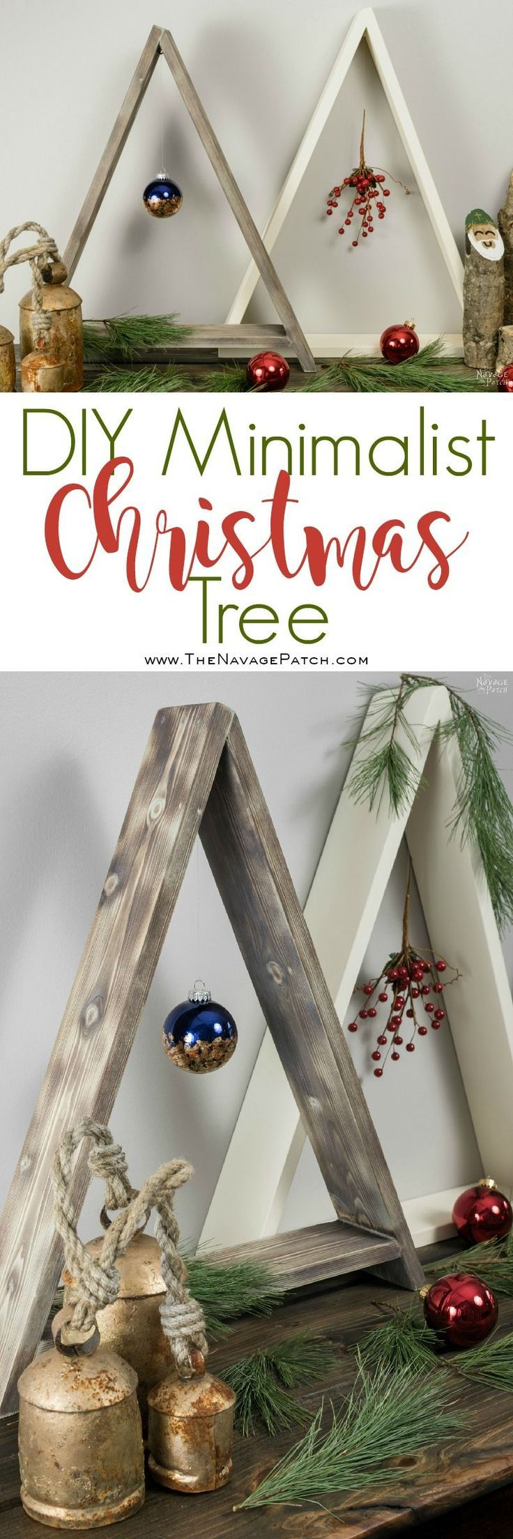DIY Minimalist Wooden Christmas Tree | The simplest and easiest DIY wooden Christmas tree | How to make a wooden Christmas tree | Easy and budget friendly DIY Christmas decorations | #ChristmasDecor #DIYChristmasdecor #HandmadeChristmas #Christmascrafts #MinimalistHome | TheNavagePatch.com