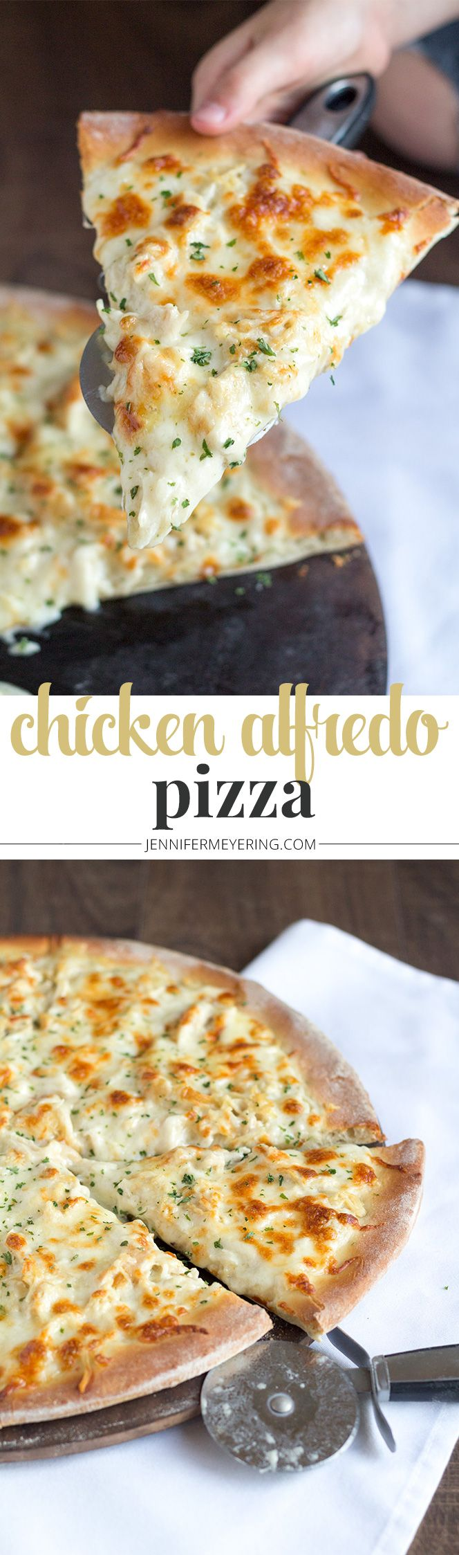 Chicken Alfredo Pizza - JenniferMeyering.com