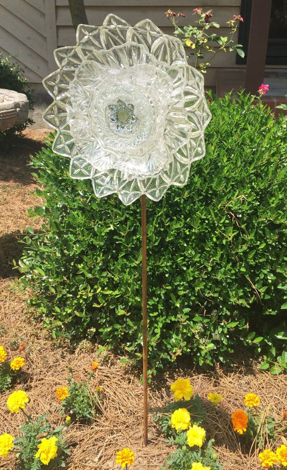 Glass Garden Flower Garden Art Plate Flowers Art