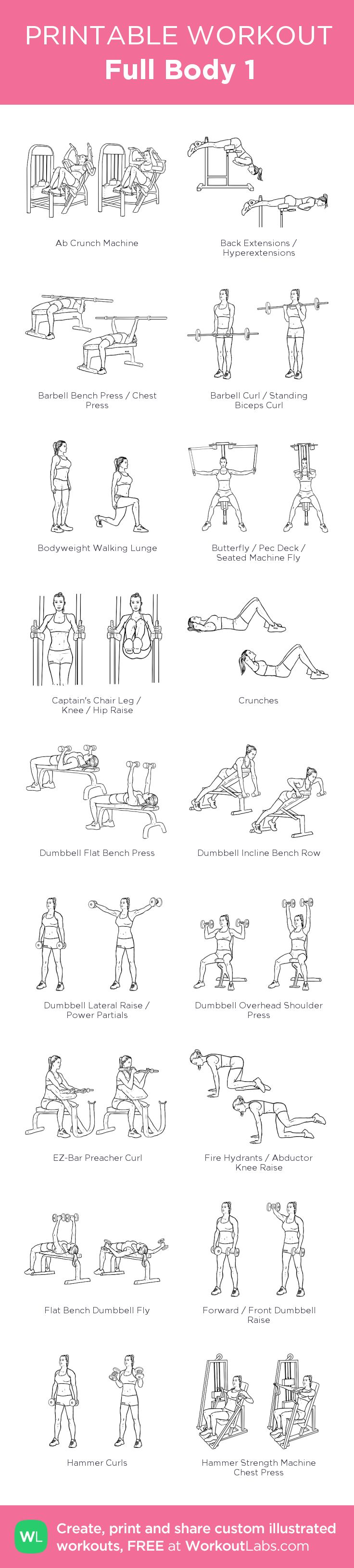 Full Body 1:my visual workout created at WorkoutLabs.com • Click through to customize and download as a FREE PDF! #customworkout