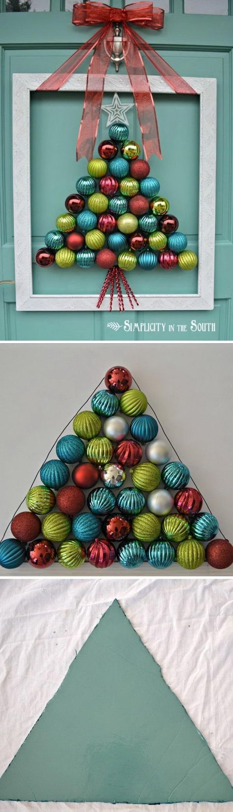 Homemade Projects & Ideas for Christmas Decoration: Framed Christmas Tree Ornament Wreath.