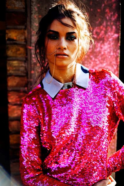 Love how the sequin top is dressed down by the shirt underneath