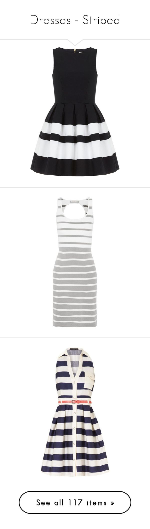 """""""Dresses - Striped"""" by giovanna1995 ❤ liked on Polyvore featuring dresses, vestidos, short dresses, striped, blue, navy stripe dress, cotton dress, navy short dress, blue sleeveless dress and richard nicoll dress"""