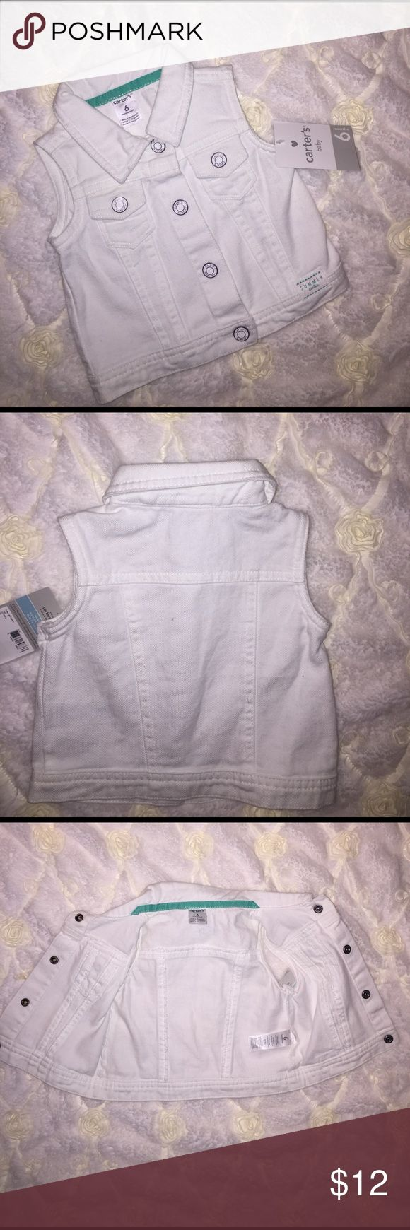 💛BRAND NEW💛 Baby Girl White Denim Vest *NWT* Baby Girl White Denim Vest!!! This adorable vest will be perfect for your little fashionista!!! In BRAND NEW CONDITION w/ original tags!!! Don't forget to BUNDLE & SAVE!!! Carter's Jackets & Coats Vests