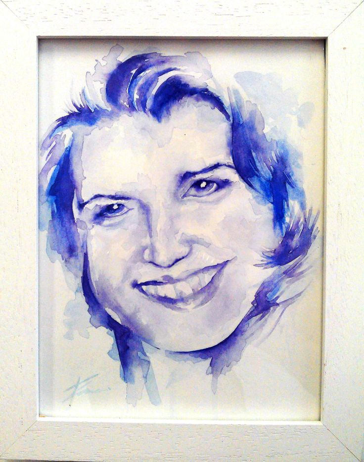 Eliana's mum, watercolour portrait by Tasneem Kamies for KIN on Kloof's Mother's Day window exhibition  For more info on this exhibit- http://bit.ly/1rBb0yS  kinshop.co.za - growing local art & design