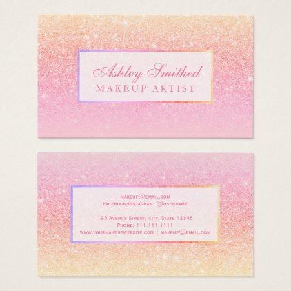 Modern pink yellow glitter sunset ombre makeup business card - glitter glamour brilliance sparkle design idea diy elegant