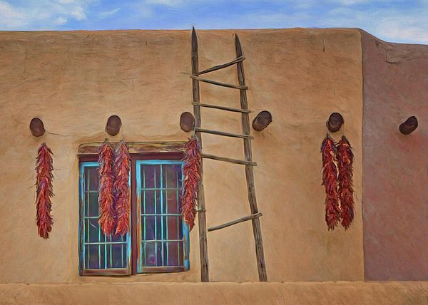 """""""Chile ristras, Window and Ladder"""" by Nikolyn McDonald has a traditional, Southwestern charm.  The adobe walls, exposed vigas (wooden beams), hanging strings of dried chile peppers, and turquoise paint on the window frame are all typical of New Mexico. building,pueblo style,taos,architecture,southwest,wall,brown,sky,exterior,blue,aqua,nikki,nikolyn,mcdonald"""