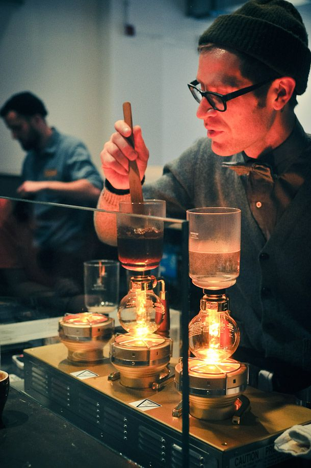 A visit to Blue Bottle Coffee's new cafe in Manhattan. Pictured is the siphon bar