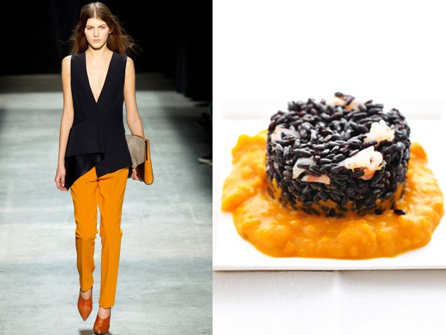 Narciso Rodriguez fw 2013-14 / Black rice with cream of pumpkin and shrimps