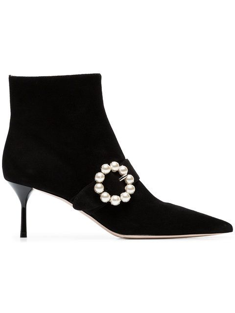 03449ea4c4ad Miu Miu Black Side Pearl 65 Suede Leather Boots | Influential Style ...