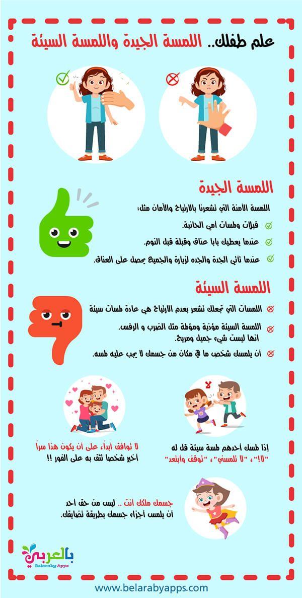 إنفوجرافيك اللمسة الجيدة واللمسة السيئة لتوعية الأطفال من التحرش بالعربي نتعلم In 2021 Letter C Preschool Lettering Preschool