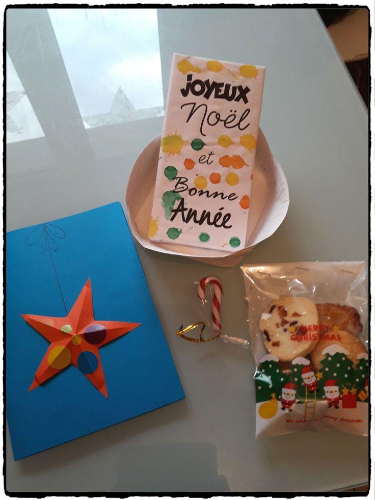 cadeau de noel maitre maitresse atsem, cadeau de fin d'année, emballage chocolat, carte de voeux, sachet de biscuits de noel, bricolage de noel, enfant, cadeau à offrir