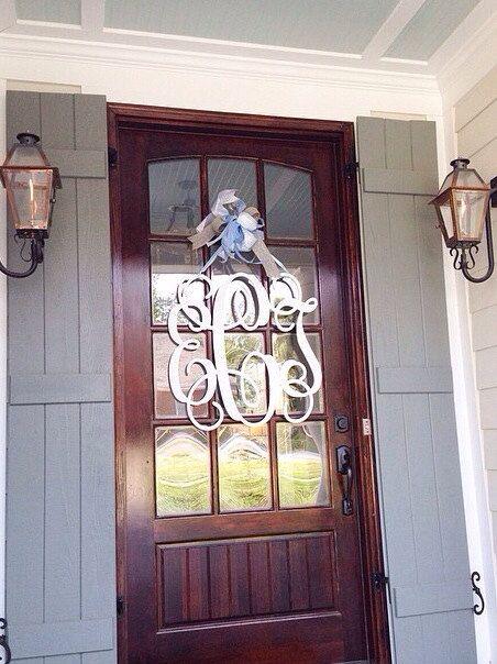 28x28 3 letter wooden monogram with bow      front door monogram