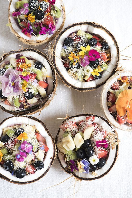 fruit bowl in a coconut - perfect for cooling off on a girls' pool day