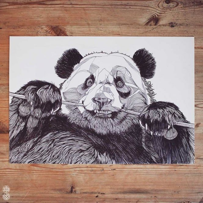 LUKE DIXON - PANDA - ORIGINAL DRAWING - A3