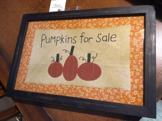 Primitives by Kathy Hand Stitched Large Pumpkins for Sale Framed Under Glass NWT #DesignsbyKathy