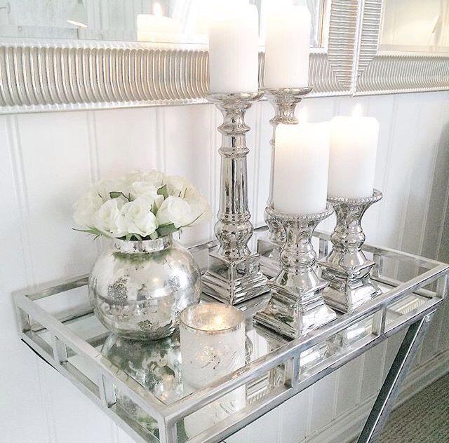 Table Decor Living Room, Silver Mirror Tray Decor