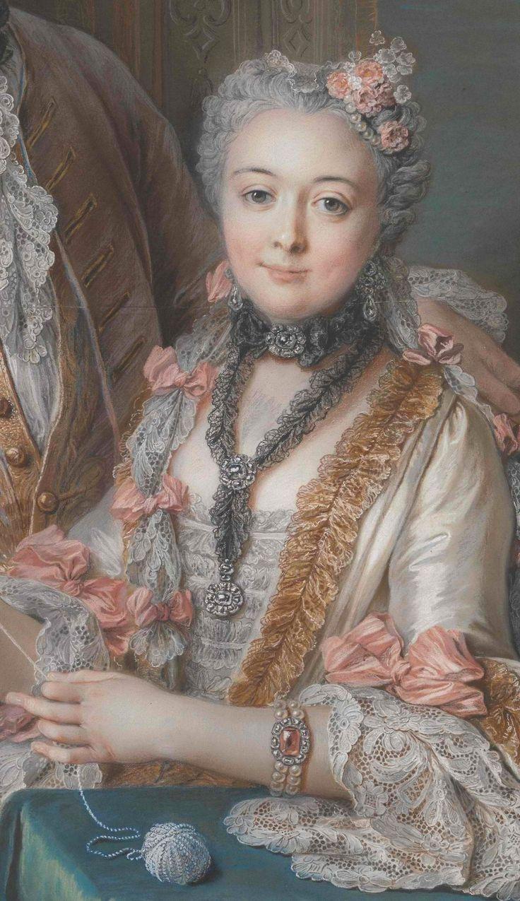 Detail of the portrait of Marie Élisabeth de Séré de Rieux, (1724–1795) by Charles Antoine Coypel (French, Paris 1694–1752 Paris) 1743 Pastel, black chalk, watercolor, and traces of black chalk
