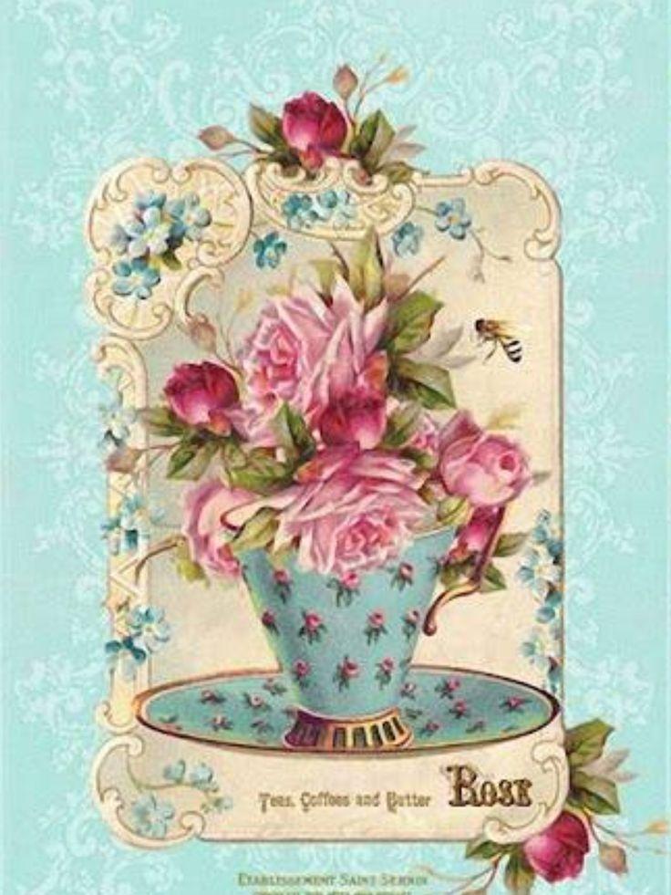10 images about images flowers on pinterest clip art for Tazas de te estilo vintage