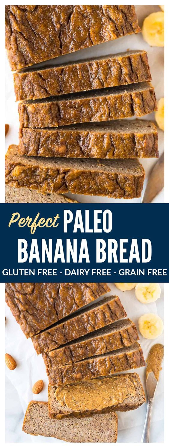 PERFECT Paleo Banana Bread with coconut flour, almond butter, and maple syrup or honey. This moist, tender banana bread tastes like the real-deal but is flourless and made with NO butter, NO oil and NO sugar! The best healthy banana bread recipe you will ever bake.