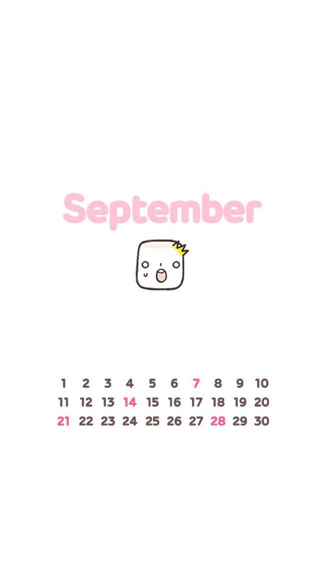 Cute September Calendar 2014 - Cute Calendar iPhone wallpapers @mobile9