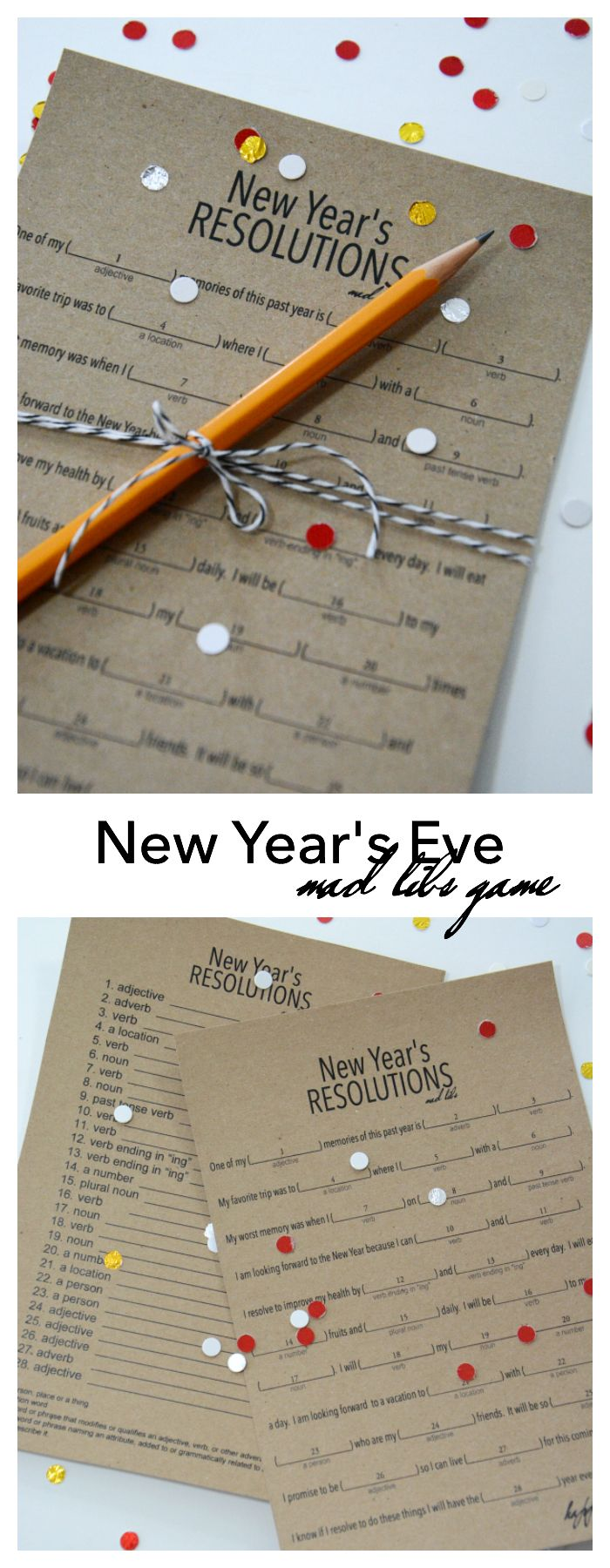 New Year's Eve | Play this fun New Year's Eve Game based on the Mad Libs games you played growing up. Free Printables provided for you New Year's Eve fun!