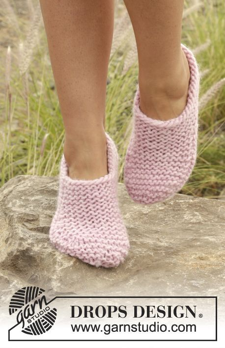"Knitted DROPS slippers in garter st in ""Eskimo"". Free Pattern"