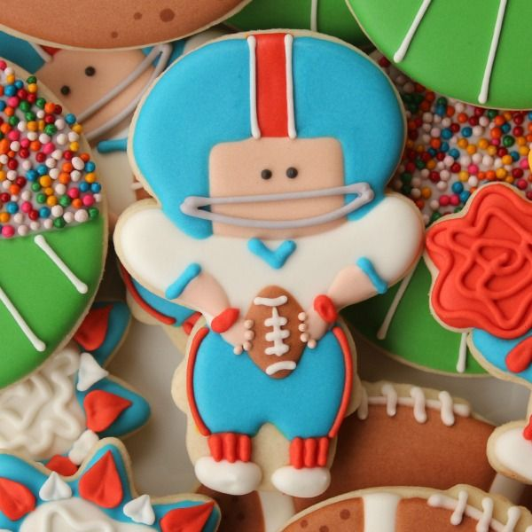 Football Player Cookie (amazing what designs she creates out of the same snowman cutter!)