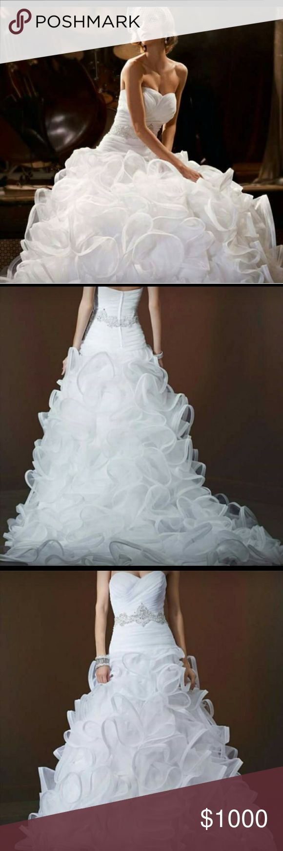 Galina Signature Wedding Gown White with organza. Beautiful and unique dress in excellent condition. Galina Signature Dresses Wedding
