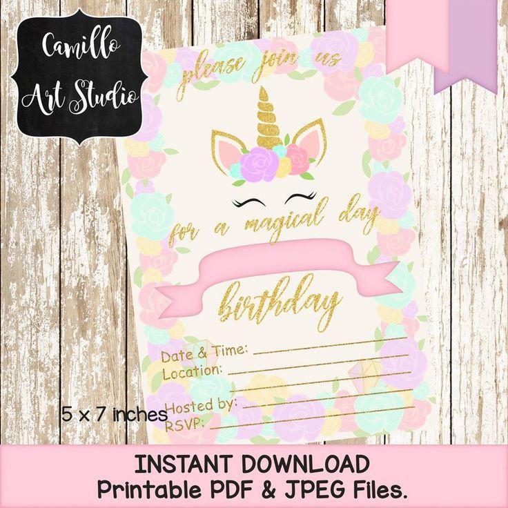 Printable Unicorn Birthday Party Invitations – Instant Download – 116