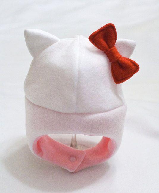 Hello Kitty Inspired Baby/Toddler Fleece Hat by mrsPTB on Etsy