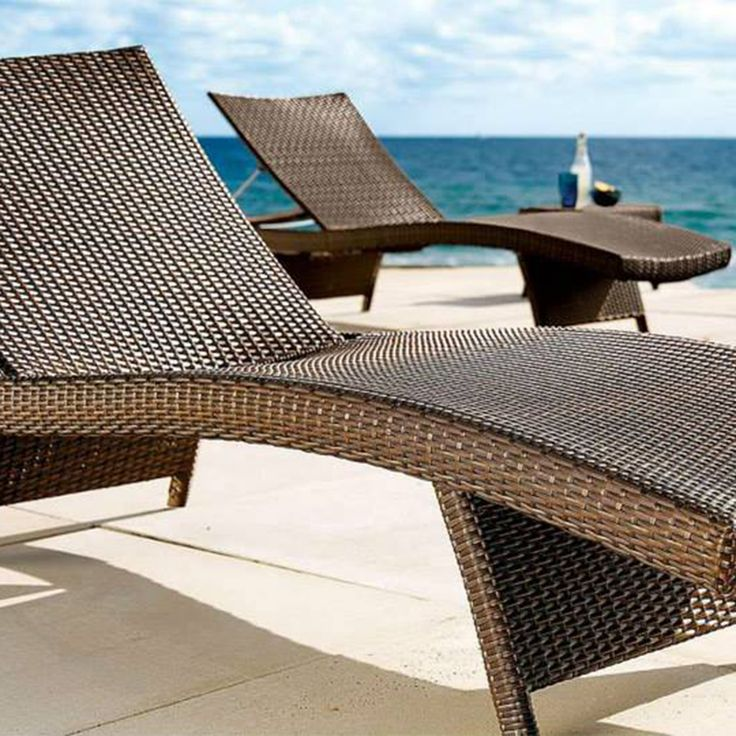 Brown weave Sun Lounger, wicker Pool Lounger