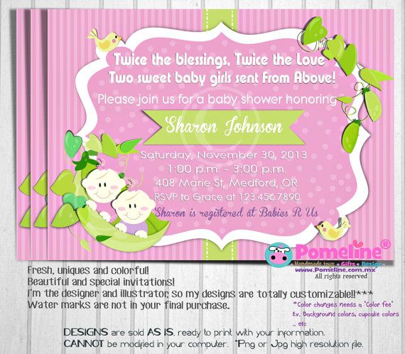 Printable Twin Baby Peas Shower Invitation. By PomelineStudio