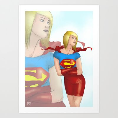 Super+Woman+Art+Print+by+Valentina+Testa+-+$16.64