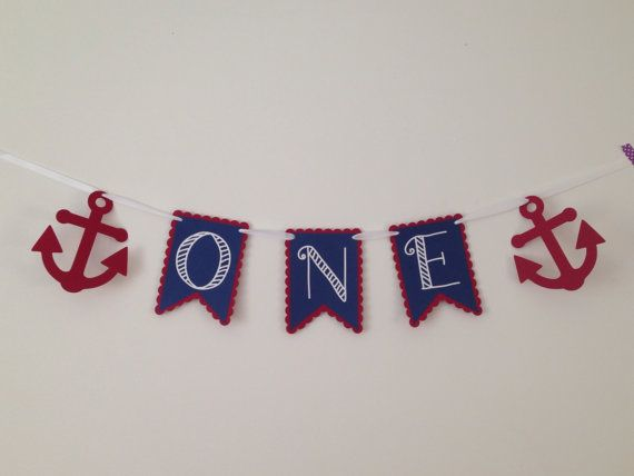 One with Anchors- High Chair Banner - 1st Birthday Nautical Themed Banner - Customizable Colors