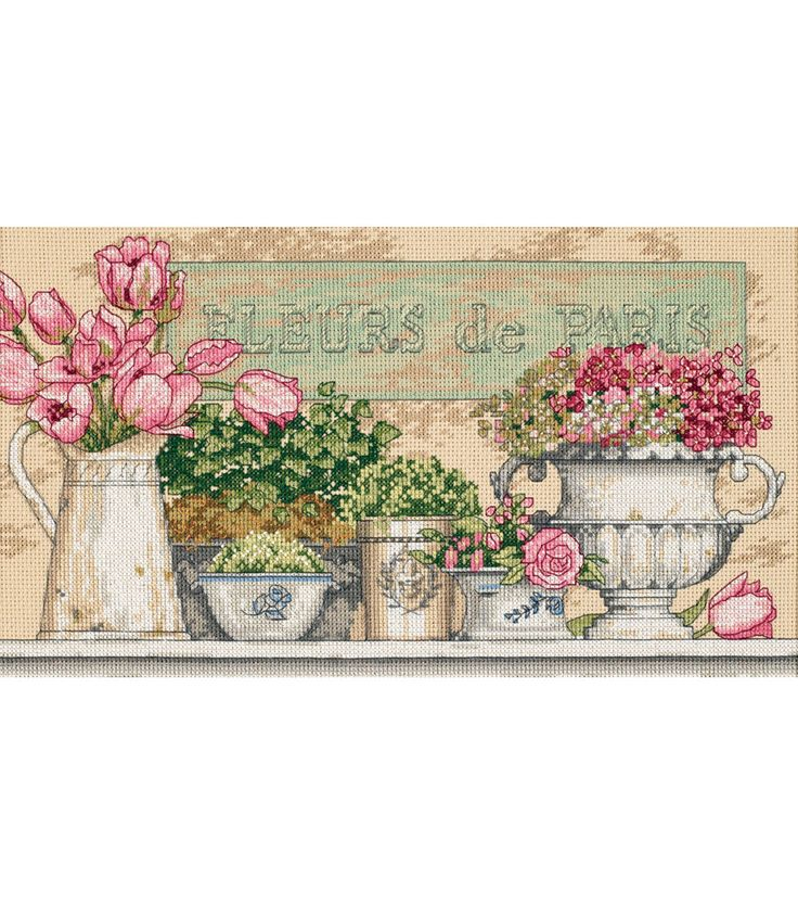 "Flowers Of Paris Counted Cross Stitch Kit-14""X8"" 14 Count"
