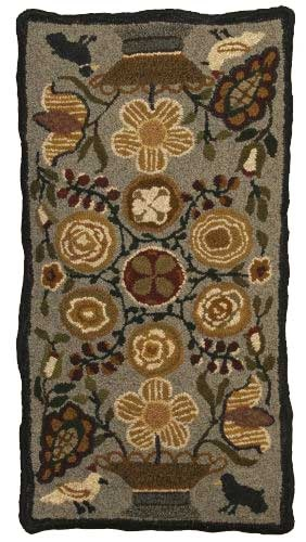 """""""Primitive Flowers"""" hand hooked rug from Wooley Thymes"""