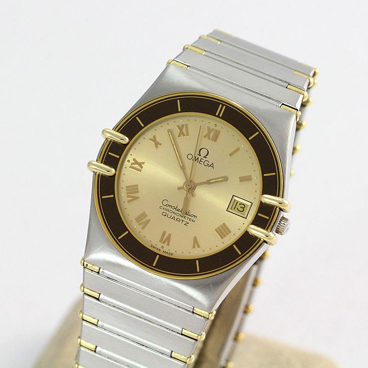 18K Y.G. and Stainless Steel Omega Quartz  Constellation #1421 with Date #Omega