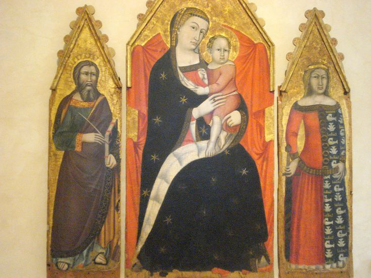 010-Богородица с свв. Иоанном Богословом и Екатериной (Мелло да Губбио).jpg 14 век.