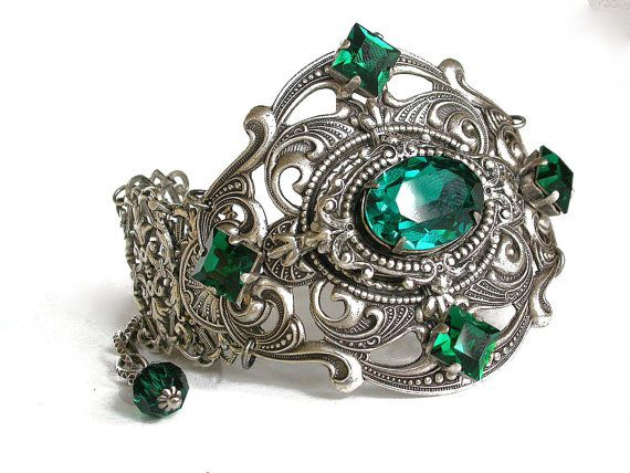 Silver Dragon Ring Emerald Swarovski Gothic Ring by LeBoudoirNoir