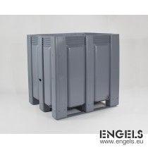 Kunststof palletbox, 1200x1000x1200 mm, 1120 ltr, 3 sleden, grijs