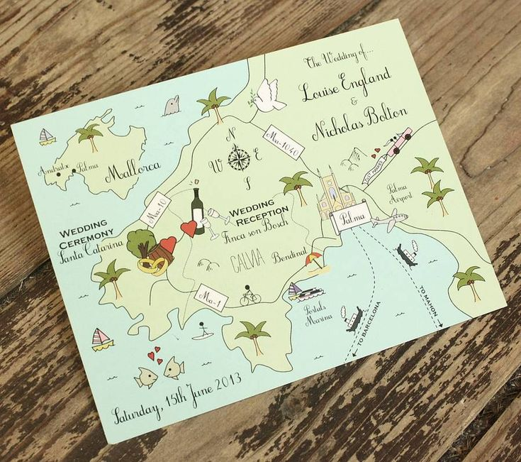 wedding or party map full colour postcard by cute maps | notonthehighstreet.com